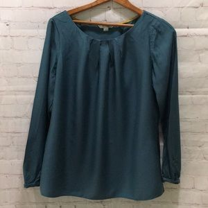 Boden teal blue long sleeve pleat front blouse 8